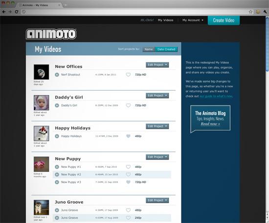Animoto My Videos Page