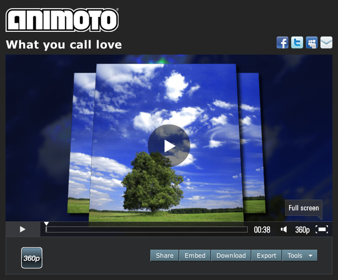 Animoto Video Player