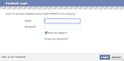 Facebook Login with Animoto