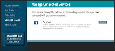 Disconnect Facebook and Animoto