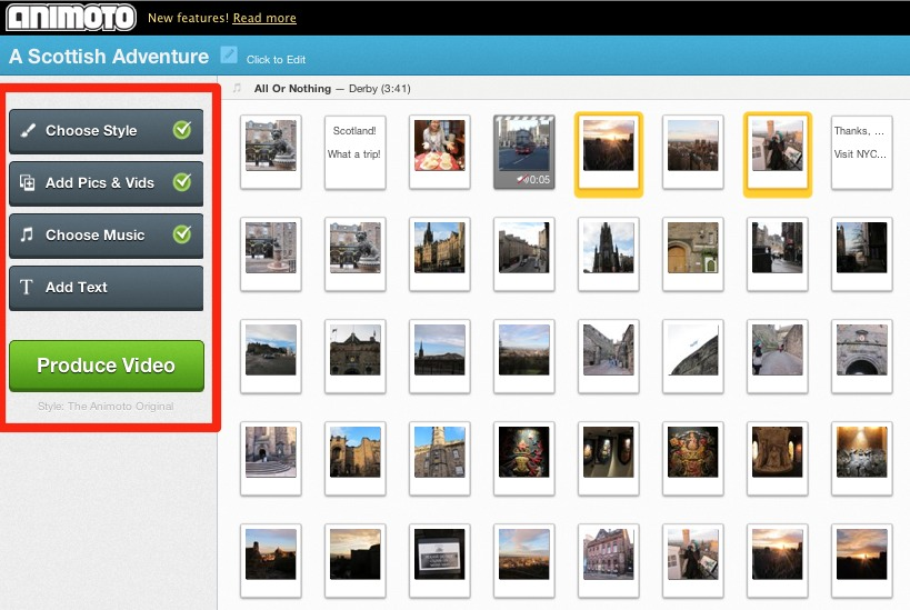 Animoto streamlined video creation process