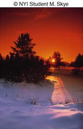 winter photography sunset