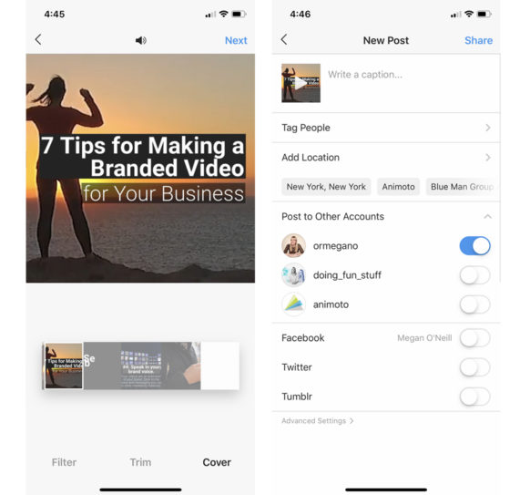 Share a Video on Instagram